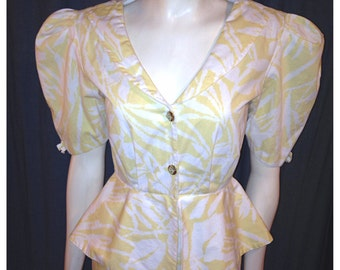Vintage 1980's Peplum Wiggle Dress.  Yellow and White Print.  Size 9/10.