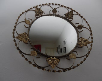Convex mirror, gold tone trellis frame, round, 1950's, ivy leaf design