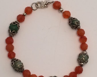 Carnelian healing crystal and African turquoise healing crystal bracelet