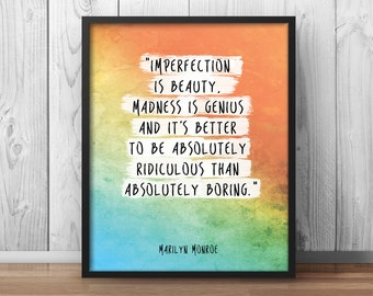 """Marilyn Monroe Quote """"Imperfection is beauty"""" Watercolor Printable Home Decor Watercolor Artwork Inspirational Quote Handmade Inspiring -003"""