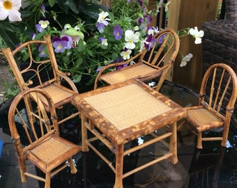 mid century bamboo dollhouse garden furniture set 5 piece table chairs and lounger