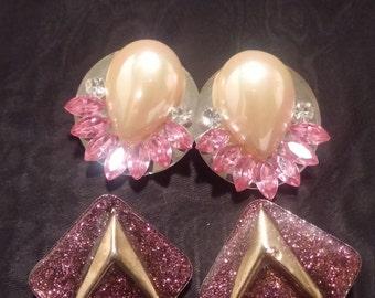 Vintage 80's Retro Pink sparkle earrings, 2 pairs!