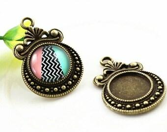 10pcs+ Antique Bronze Tone Pendant Blanks Cabochon Settings 12mm Bezel Pendants Earrings Findings Jewelry Supplies Wholesale Supply