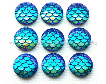 10-50pcs 12mm Mermaid Cabochons Iridescent Mermaid Cabochon Fish Scale Dragon Snake Skin AB Cabochons Cellphone Case Scrapbooking Blue