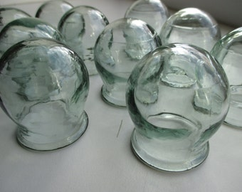 Medical Cupping Jars, Vintage set of 10 Chinese Medicine Fire Glass Cups, Old Russian Cupping Jars, Soviet Cupping from Russia, Body cupping