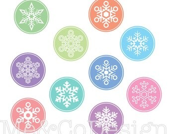 Snowflake Buttons Clipart, Fun Pretty Clipart, Winter, Snow Instant Download, Personal and Commercial Use Clipart, Digital Clip Art