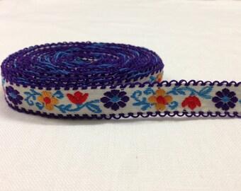 Nastro in cotone con decorazioni floreali 15mm