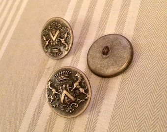 Old buttons of arms blazon crowned Lions
