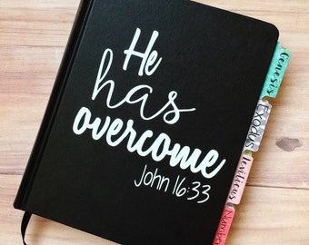 """DECAL ONLY! """"He has overcome"""" Vinyl Decal"""