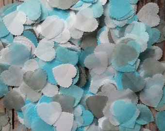 1200+Wedding throwing confetti scalloped heart shaped!Baby blue &  Grey, White medium size. Table Decoration.Romantic spring summer colours