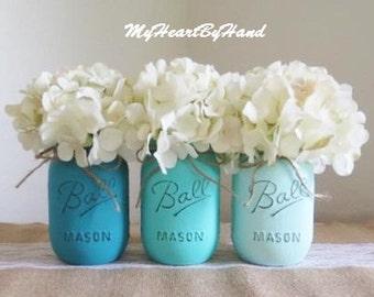 Teal Ombre Distressed Mason Jars, Turquoise Wedding Mason Jars, Vintage Flower Vases, Rustic Centerpieces, Baby Shower, Teal Nursery Decor