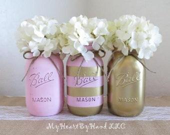 Distressed Mason Jars in Light Pink, Gold Mason Jars, Pink & Gold Stripes, Baby Shower Centerpieces,  Girls Birthday, Bridal Shower