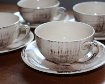 Set of 4 Barkwood Vernonware Teacup & Saucer Sets-- Four Teacups/Four Saucers --  Metlox, Poppytrail, Midcentury -- Brown on Beige