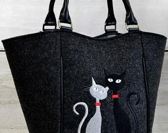 Two cats Felt Handbag/  handbag / felt bag/ handbag with cats