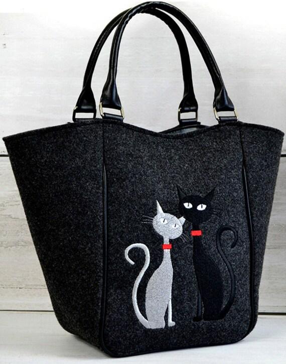 Articoli simili a borsa di feltro con gatti borsa for Gatti in pannolenci