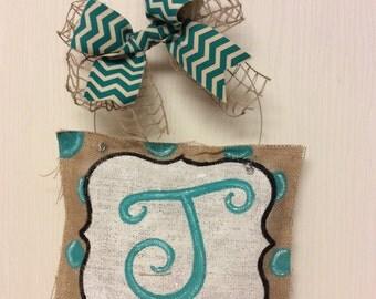 Handmade painted burlap initial door hanger