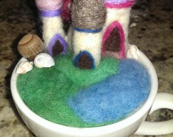 Needle Felted Scene Tea Cup village wool art