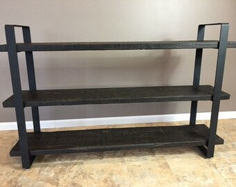 "Reclaimed Wood Shelf/Shelving Unit with 3 Shelfs-industrial Urban look with 2"" flat Steel"