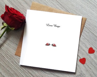 Love Bugs Anniversary Card - Valentines Day Card - Engagement Card - Anniversary Card - Ladybird - Girlfriend Boyfriend Card - Love Card
