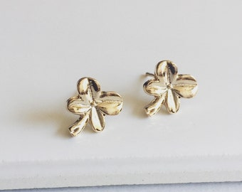 Tiny Clover Earrings, 3 Petal Clover Earrings