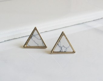 White Marble Triangle Earrings, Simple Earrings