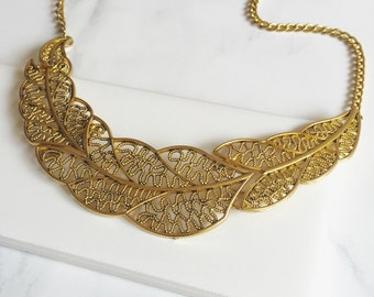 Leave Bib, Antique Gold Collar Necklace Jewelry