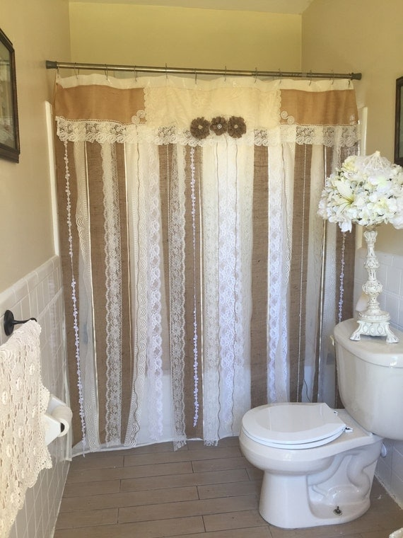 72 shabby rustic chic burlap shower curtain lace ruffles for Shabby chic rhinestone shower hooks