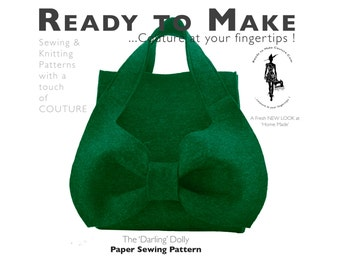Paper Sewing Pattern -  The 'Darling Dolly' Designer Handbag Purse Very Haute Couture Hobo Bag Simple to Sew Ready to Make Tutorial Kit