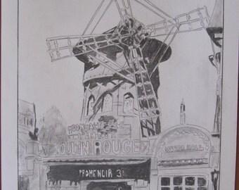 dessin crayon graphite, le moulin rouge d antan,  Paris A3
