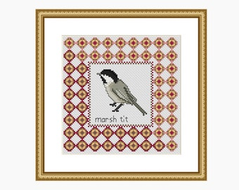 Cross Stitch Pattern, Modern cross stitch - MARSH TIT bird cross stitch chart - Downloadable PDF
