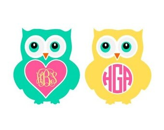 Owl Monogram SVG, Studio 3, DXF, AI, ps and pdf Cutting Files for Electronic Cutting Machines