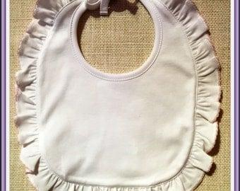 Blank Bib, Baby Girl Bib, Embroidery Blank, Ruffle Bib