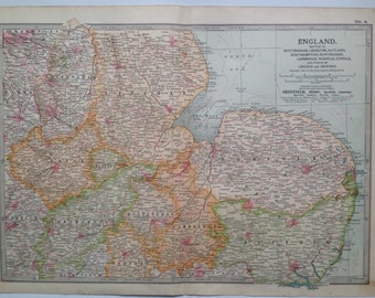 1903 ENGLAND & WALES (East Anglia and Midlands) Original Large Antique Map - Wall Map - Home Decor - Cartography - 11 x 16 Inches