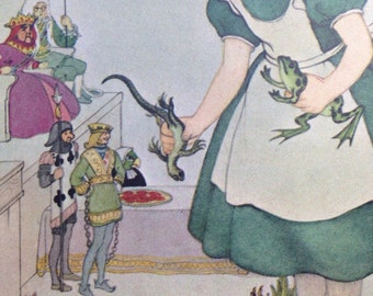 1964 Alice in Wonderland Vintage children's book Illustration by Marjorie Torrey - matted and ready to frame - Wall Decor