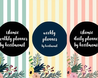 Islamic DAILY, WEEKLY, & MONTHLY Planners by Kecilmamil (A5 Size - Bundle - Printable - Instant Download)