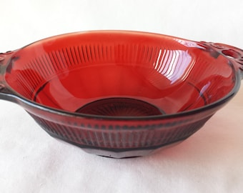 Ruby Red Serving Bowl, Vintage Red Glass Bowl With Handles, Berry Bowl,  #10