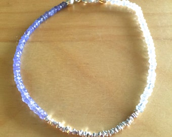 Tanzanite, Aquamarine and Silver Beaded Bracelet with Sterling Silver Clasp