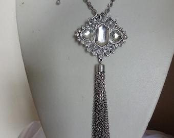 Vintage Silver Tone Tassel Necklace (REDUCED)