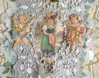 Victorian Paper Lace Antique Valentine Card Fold Open Die Cut Cupids Angels Children Embossed Card