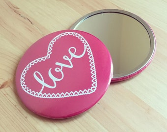 Red Heart Pocket Mirror