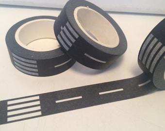 Black Straight Road Washi Tape