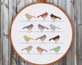 Birds in Lines cross stitch pattern, modern cross stitch pattern, birds cross stitch pattern, funny cross stitch pattern, funny pattern, pdf