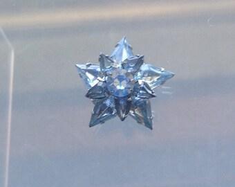 Vintage Blue Rhinestone Star Brooch/Light Blue Crystals/ Silver and Blue Star/Midcentury - 1950's