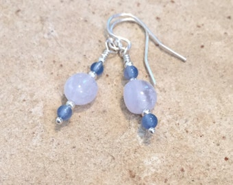 Pretty blue drop earrings, agate earrings, sterling silver earrings, dangle earrings, gemstone earrings, natural earrings, gift for her