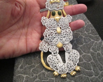 1960's White POODLE necklace>> quite ornate> quite large>>>>>Gotta peek!!