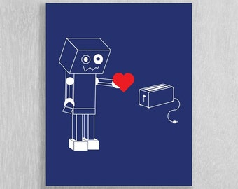 Robot Love Instant Download - Nursery, Kids Art- 8 x 10 - Navy, Red, and White - Science Nursery Art
