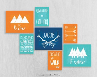 Woodland Nursery Art Prints Set of 7 - Adventure Nursery - Be Brave, Explore - Childrens Art - Personalized Nursery Art - Camping Nursery