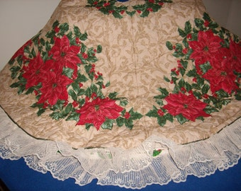 Poinsettia and Holly Tree Skirt
