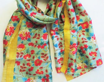 A darling summer floral printed shawl piece on raw silk that will brighten up any cold gloomy day.