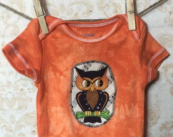 3 month Baby Girl Hand Dyed Halloween Appliqued onesie